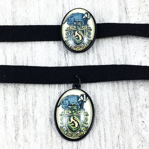Harry,Potter,Hufflepuff,Choker,Necklace,harry potter, choker, necklace, cameo, hufflepuff, hogwarts, house, geeky, potter head, jewelry, leather, suede