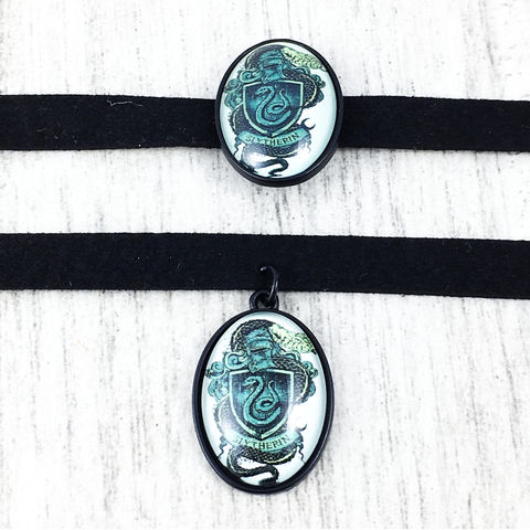 Harry,Potter,Slytherin,Choker,Necklace,harry potter, choker, necklace, cameo, slytherin, hogwarts, house, geeky, potter head, jewelry, leather, suede