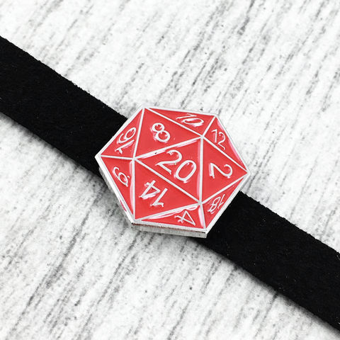 D20,Choker,Necklace,,RED,d20, choker, necklace, twenty sided die, dice, red, icosahedron, tabletop gaming, dungeons and dragons, dnd, d&d, jewelry, leather, suede