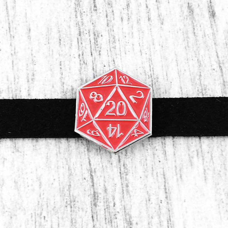 D20 Choker Necklace, RED - product images  of