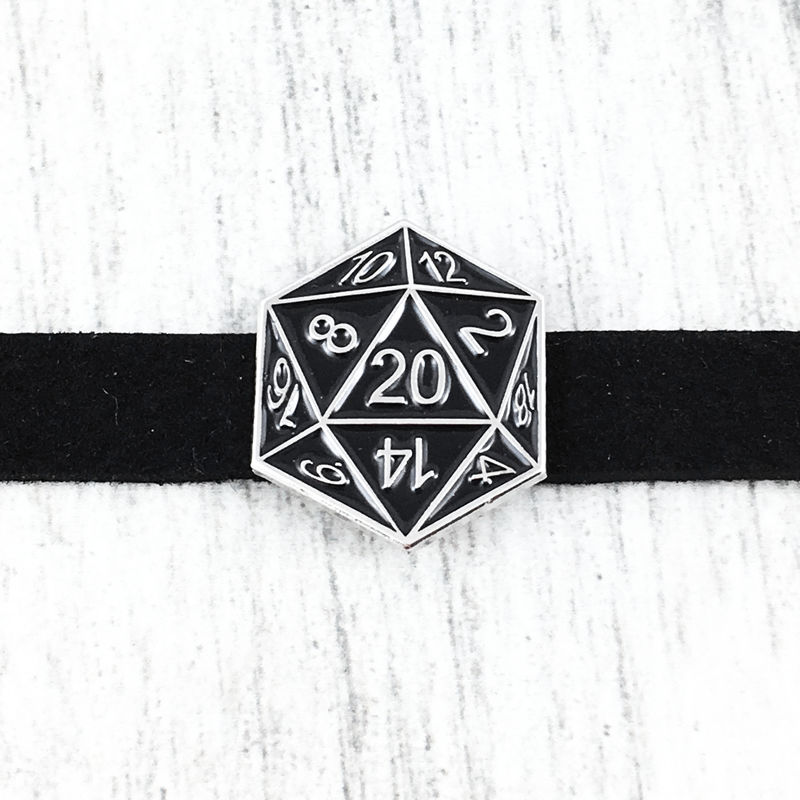 D20 Choker Necklace, BLACK - product images  of