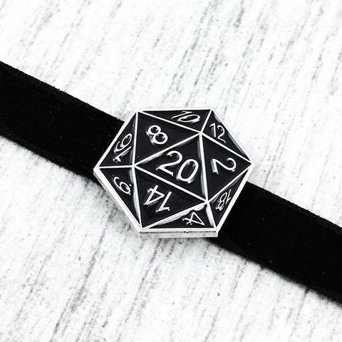 D20,Choker,Necklace,,BLACK,d20, choker, necklace, twenty sided die, dice, black, icosahedron, tabletop gaming, dungeons and dragons, dnd, d&d, jewelry, leather, suede