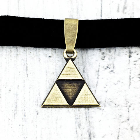 Bronze,Triangle,Choker,Necklace,triforce, choker, necklace, tri force, triangle, bronze, gamer girl, geek, legend of zelda, zelda