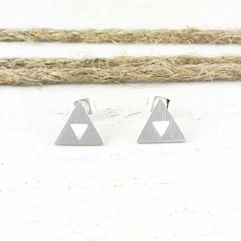 Silver,Triangles,Stud,Earrings,triforce, earrings, triangle, silver, studs, post, mens, stainless steel, surgical steel, legend of zelda
