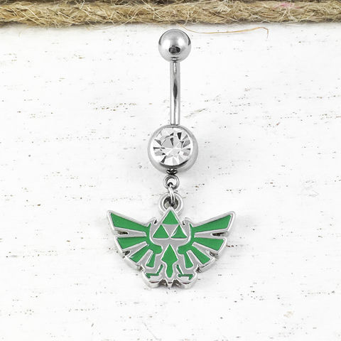 Hyrule,Crest,Belly,Ring,,navel,barbell,legend,of,zelda, legend of zelda, belly ring, belly button ring, navel ring, barbell, stainless steel, surgical steel, 316L, hyrule, hylian, hylean, triforce, green, geeky, gamer girl