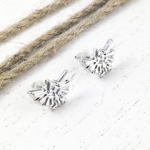 Legend,of,Zelda,Hyrule,Small,Studs,legend of zelda, hyrule, earrings, studs, mens, womens, gamer geek, gamer girl, geek chic, silver, small