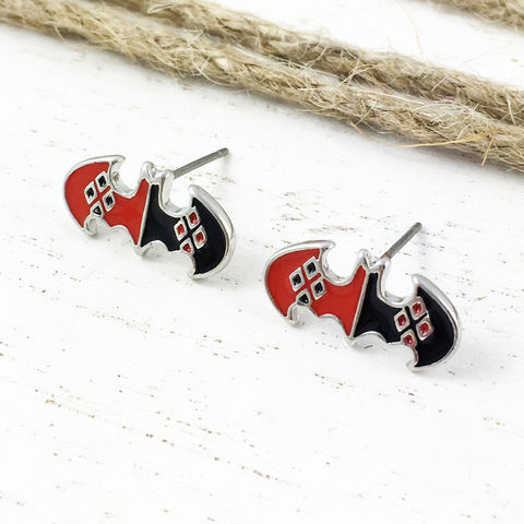 Harley,Quinn,Batman,Stud,Earrings,batman, harley quinn, earrings, studs, mens, batman logo, stainless steel, surgical steel, comic book jewelry, geeky, geek chic
