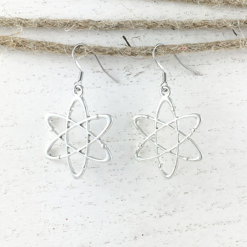 Atomic,Symbol,Earrings,atom, symbol, science, earrings, jewelry, silver, geek, nerd, comics, atomic model, atomic symbol