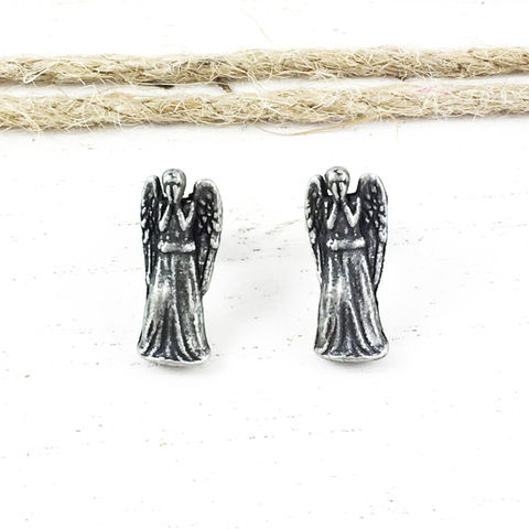 Doctor,Who,Weeping,Angel,Stud,Earrings,weeping angel, studs, earrings, grey, pewter, stainless steel, doctor who, dr who, small, canada, whovian