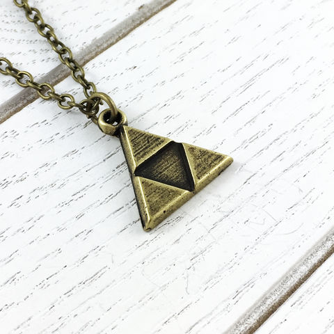 Bronze,Triangles,Necklace,Triforce necklace, charm, jewelry, zelda, golden, legend of zelda, tri force, triangle, geek chic, gaming, video games