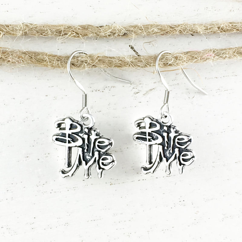 Bite Me Earrings, dangle, vampires charm silver halloween - product images  of