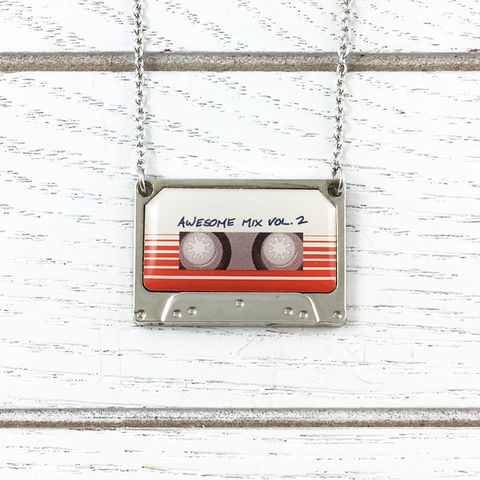 Guardians,of,the,Galaxy,Awesome,Mix,Vol.,2,Necklace,awesome mix, volume two, vol 2, necklace, cassette tape, mix tape, guardians of the galaxy, stainless steel, geeky jewelry, comic book nerd