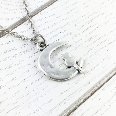 Cat,on,the,Moon,Necklace,cat, necklace, cat on the moon, crescent moon, luna, lunar, silver, alley cat, kitty, kitten, cat lady, crazy cat lady gifts, pendant, small, mini, sailor moon