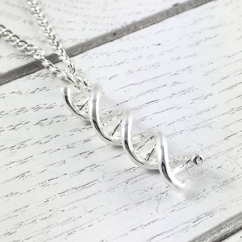 DNA Necklace, double helix silver charm pendant science - product images  of