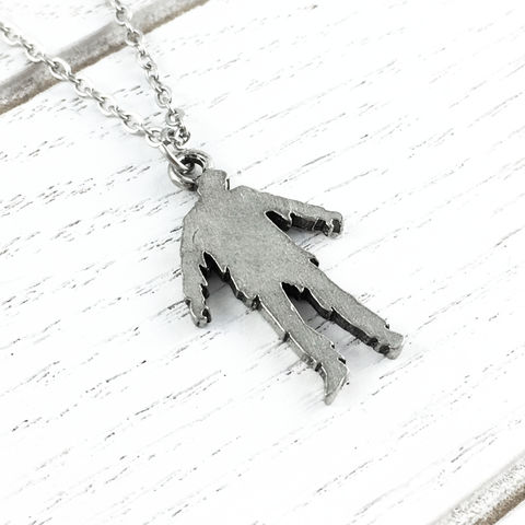 Zombie,Silhouette,Necklace,zombie, necklace, silhouette, pendant, silver, stainless steel, walking dead, horror, halloween