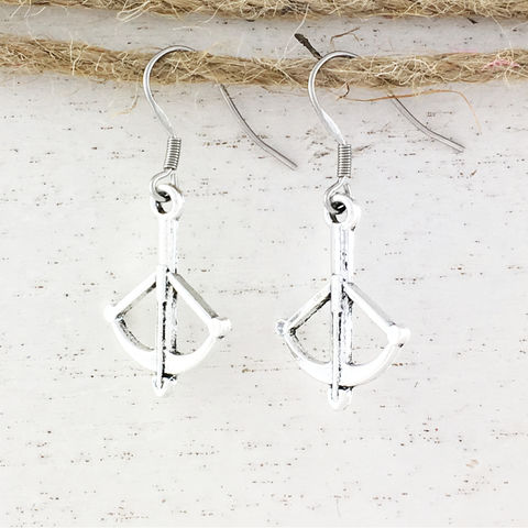 Crossbow,Earrings,crossbow, earrings, dangle, hanging, silver, bow and arrow, buffy, walking dead, daryl dixon, geeky, horror, halloween