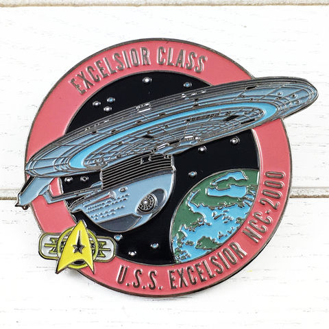 Star,Trek,U.S.S.,Excelsior,Large,Enamel,Pin,Badge,star trek, uss excelsior, u.s.s., ncc-2000, fansets, enamel pin, badge, large, giant, ship, ships of star trek collection, trekky, trekkie