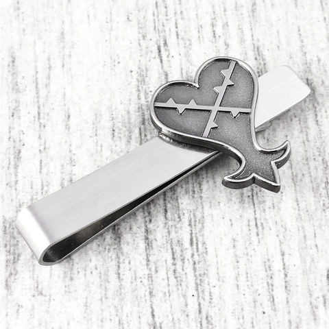 Kingdom,Hearts,Heartless,Tie,Clip,kingdom hearts, heartless, tie clip, tie bar, tie pin, silver, gamer, geek, wedding