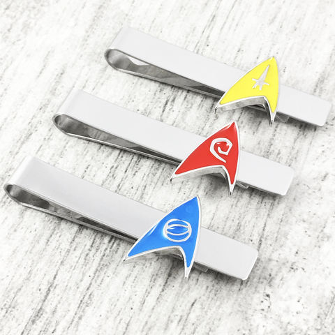 Star,Trek,Original,Series,Enamel,Tie,Clip,star trek, original series, tie clip, stainless steel, blue, red, yellow, science, command, operations, engineering, geeky wedding, trekkie, trekky, treckie
