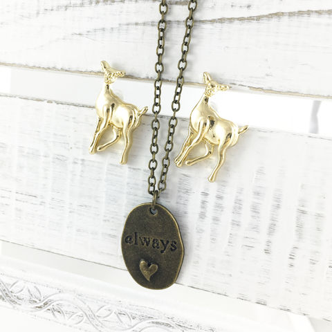 Harry,Potter,Always,Jewelry,Set,harry potter, jewelry set, earrings, necklace, pendant, doe, deer, patronus, lily potter, severus snape, always, valentine's day