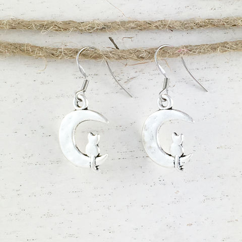 Cat,on,the,Moon,Earrings,cat, earrings, cat on the moon, crescent moon, luna, lunar, silver, alley cat, kitty, kitten, cat lady, crazy cat lady gifts, small, mini, dangle, sailor
