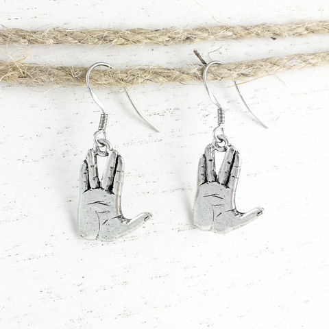 Live,Long,and,Prosper,Earrings,live long and prosper earrings, stud, post, dangle, jewelry, star trek, spock, hand gesture, trekkie, trekker, science fiction, mr spock, sci fi, vulcan salute
