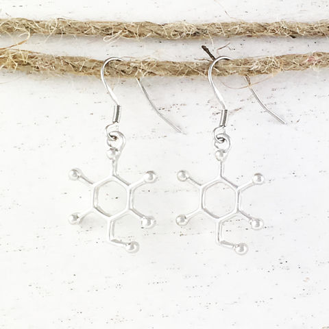 Sugar,Molecule,Earrings,molecule, earrings, science, sugar, glucose, sucrose, dangle, drop, chemistry, biochemistry, geeky, nerdy, teacher