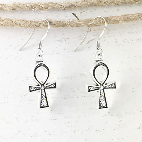 Ankh,Earrings,ankh, ancient egypt, earrings, dangle, drop, clé de vie, clef de vie, sandman, death, neil gaiman, silver, stainless steel