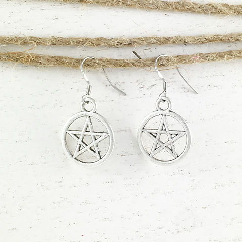 Pentacle,Earrings,pentacle, earrings, pentagram, silver, wicca, goth, witch, halloween, horror, buffy the vampire slayer, supernatural