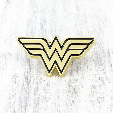 Wonder,Woman,Golden,Logo,Pin,wonder woman, golden, enamel pin, WW, logo, comics, geek, tie pin, lapel pin, classic