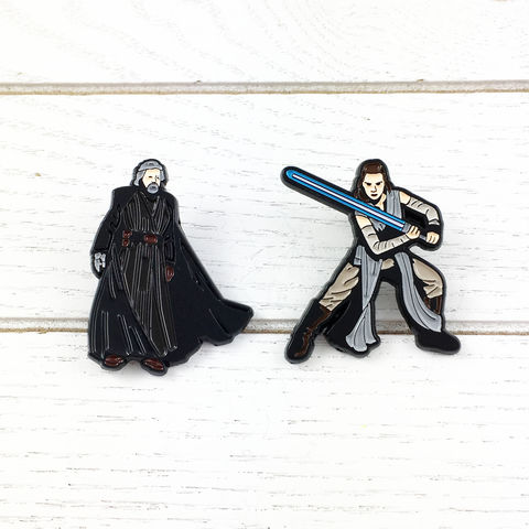 Star,Wars,Luke,Skywalker,and,Rey,Enamel,Pin,Set,star wars, last jedi, enamel pin, luke skywalker, rey, set, geeky, lapel pins