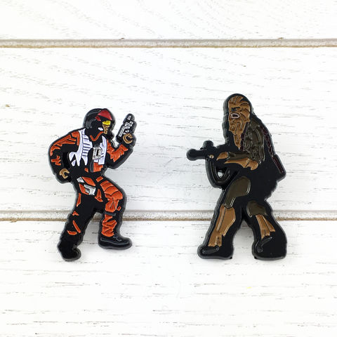 Star,Wars,Chewbacca,and,Poe,Enamel,Pin,Set,star wars, last jedi, enamel pin, chewbacca, wookie, poe dameron, set, geeky, lapel pins