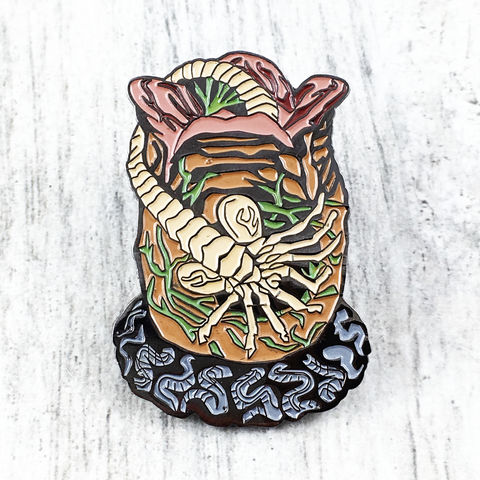 Alien,Facehugger,Enamel,Pin,alien, aliens, facehugger, enamel pin, face hugger, nest, egg, metal pin, badge