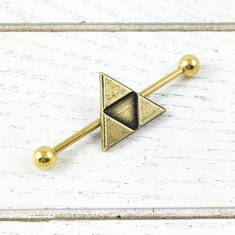 Bronze,Triangle,Industrial,triangle, ear barbell, industrial, zelda, triforce, legend of zelda, hyrule, hylian, body jewelry, ear bar, bronze, green, gold, geometric, body piercing, geek, gamer, nerd, nerdy, geekery, charm