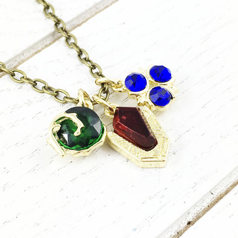 Legend,of,Zelda,|,Spiritual,Stones,Necklace,legend of zelda, spiritual stones, spirit stones, necklace, pendant, ocarina of time, triforce, gems, rupees, gold, kokiri emerald, goron ruby, zora sapphire, blue red green