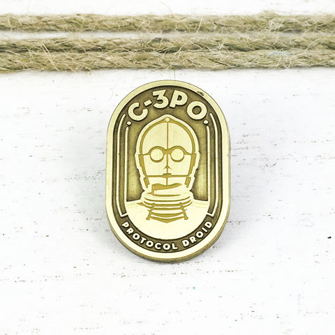 Star,Wars,|,C3P0,Badge,Enamel,Pin,star wars, enamel pin, C3P0, protocol droid, classic, lapel pin, sci fi, geek, colour, metal, collection