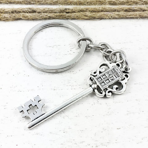 Police,Box,on,Key,Keyring,police box, key chain, key, keyring, tardis key, tardis, keychain, silver, doctor who, dr who, t.a.r.d.i.s., phone box, police public call box, blue box, men, geek, nerd, gift, stocking stuffer, charm, whovian
