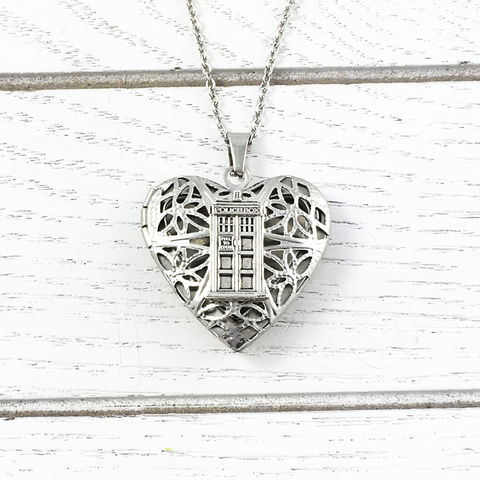 Police,Box,Heart-Shaped,Locket,tardis, locket, necklace, police box, doctor who, dr who, whovian, heart, valentine, valentine's day, romantic, silver, stainless steel, geeky, nerdy, geek chic
