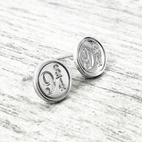 Harry,Potter,Platform,9-3/4,Stud,Earrings,harry potter, hogwarts express, platform 9-3/4, studs, earrings, stud earrings, silver, silver plated, potterhead, jewelry