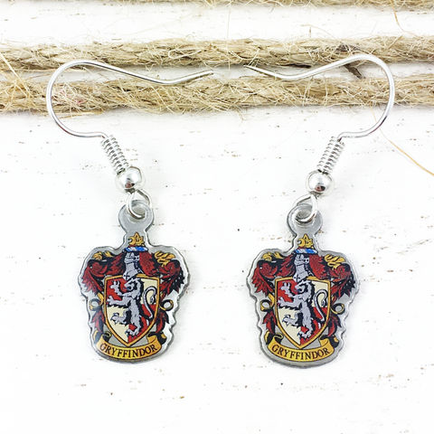 Harry,Potter,Gryffindor,Crest,Earrings,harry potter, Gryffindor, crest, house, earrings, dangle, drop, charm, silver, enamel, colour, red, potterhead