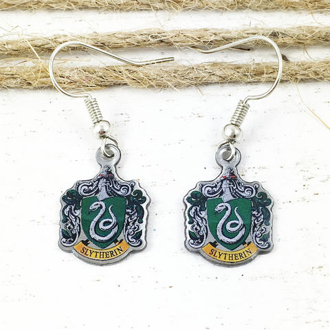 Harry,Potter,Slytherin,Crest,Earrings,harry potter, Slytherin, crest, house, earrings, dangle, drop, charm, silver, enamel, colour, green, potterhead
