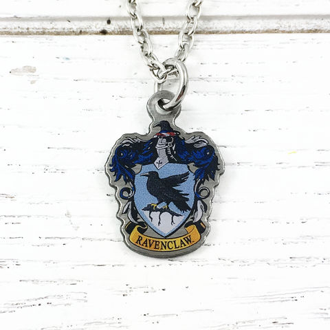 Harry,Potter,Ravenclaw,Crest,Necklace,harry potter, ravenclaw, crest, house, necklace, pendant, charm, silver, enamel, colour, blue, potterhead, delicate, dainty, subtle