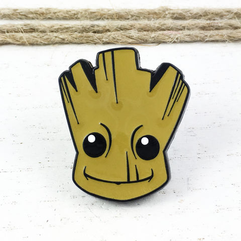 Groot,Face,Enamel,Pin,guardians of the galaxy, groot, baby groot, face, head, enamel pin, metal pin, hat pin, brooch, large, giant, mega, heavy duty, bag pin