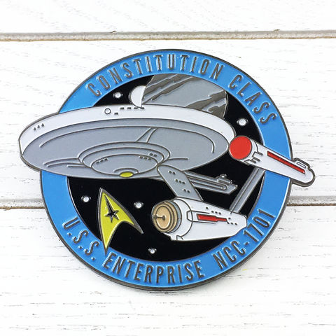 Star,Trek,Enterprise,Large,Enamel,Pin,Badge,star trek, enterprise, original series, TOS, ncc1701, ncc 1701, enamel pin, badge, large, ship, ships of star trek collection, trekky, trekkie, fansets