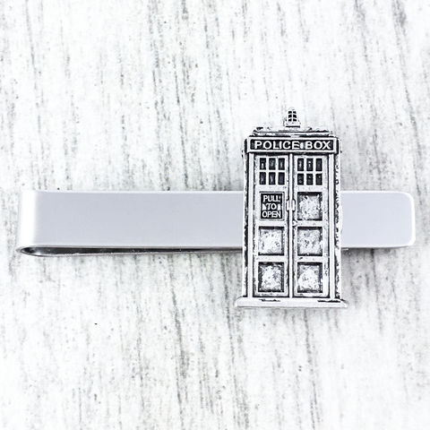 Police,Box,Tie,Clip,police box, tardis, doctor who, dr who, tie clip, tie bar, tie pin, silver, geek, wedding, xmas, british