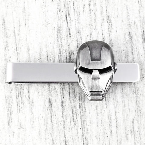 Iron,Man,Helmet,Tie,Clip,iron man, helemet, face, head, mask, tie clip, pewter, black, fancy, tie bar, tie pin, wedding, geeky, comic books