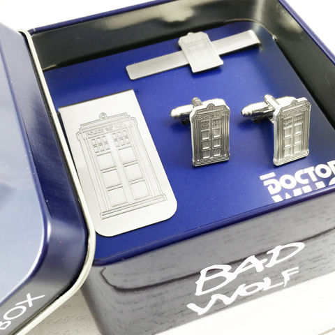 Doctor,Who,Cuff,Links,Gift,Set,doctor who, TARDIS, cuff links, gift set, box set, cufflinks, tie clip, money clip, billfold, bill clip, cash clip, police box, stainless steel, silver