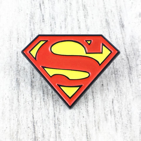Superman,Classic,Enamel,Lapel,Pin,superman, enamel pin, classic, colour, red yellow, lapel pin, tie pin, tie tack, pendant, pewter, comics, nerd, geeky, silver