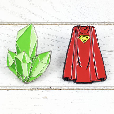Superman,Cape,and,Kryptonite,Enamel,Pin,Set,superman, enamel pin, classic, character, comics, colour, cape, kryptonite, krypton, lapel pin, tie pin, tie tack, pendant, pewter, nerd, geeky, silver