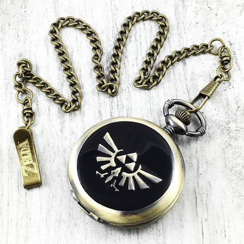 Legend,of,Zelda,|,Hyrule,Crest,Pocket,Watch,legend of zelda, pocket watch, fob watch, hyrule crest, triforce, twilight princess, enamel, stainless steel, bronze, geek, mens, gamer